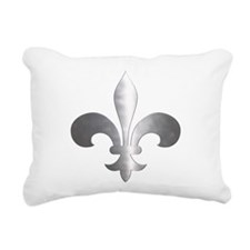 Metallic Fleur De Lis Rectangular Canvas Pillow