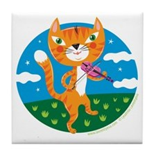 """The Cat and the Fiddle"" Tile Coaster"