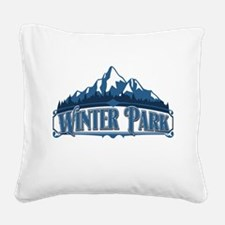 Winter Park Blue Mountain.png Square Canvas Pillow