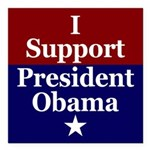 I Support President Obama Square Car Magnet 3&quot