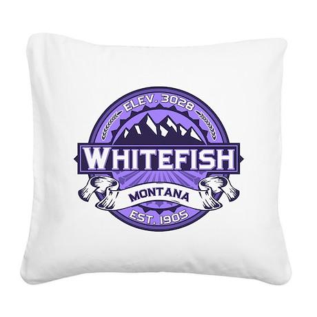 Whitefish Logo Violet Square Canvas Pillow