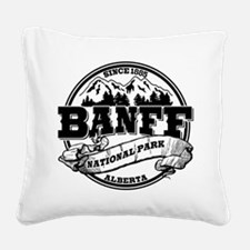 Banff NP Old Circle Black.png Square Canvas Pillow