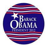 Barack Obama Star and Stripes Round Car Magnet