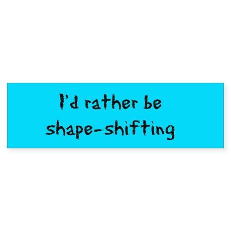 Shape-shifting Bumper StickerBlack text on blue