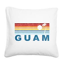 Retro Palm Tree Guam Square Canvas Pillow