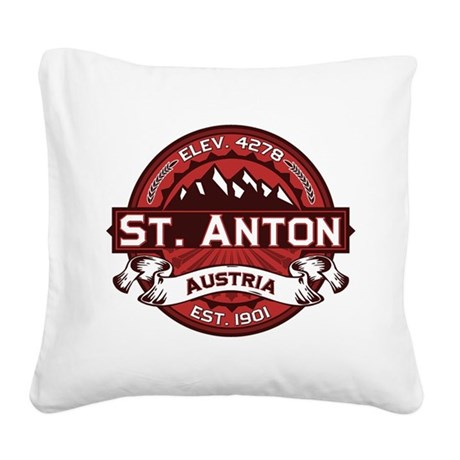St. Anton Red Square Canvas Pillow