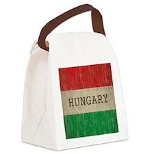 Vintage Hungary Flag Canvas Lunch Bag