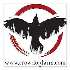 "Crow Dog Farm Crow Square Car Magnet 3"" x 3"