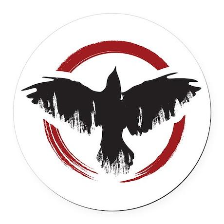 Crow Dog Farm Crow Round Car Magnet