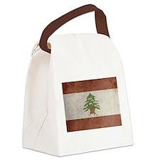 Vintage Lebanon Flag Canvas Lunch Bag