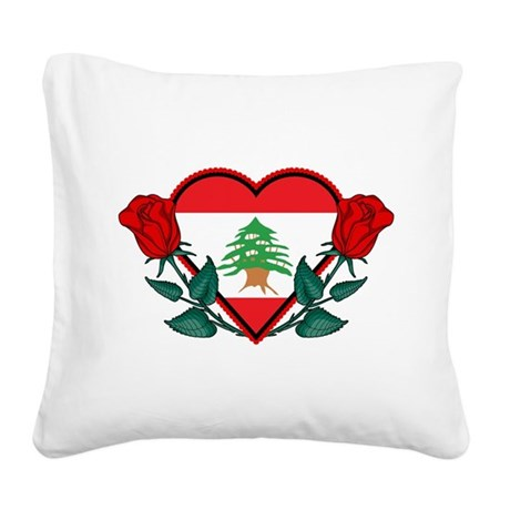 Heart Lebanon Square Canvas Pillow
