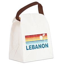 Retro Palm Tree Lebanon Canvas Lunch Bag