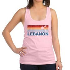 Retro Palm Tree Lebanon Racerback Tank Top