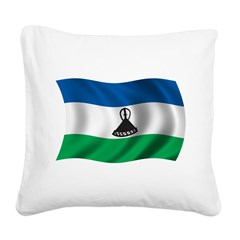 Wavy Lesotho Flag Square Canvas Pillow