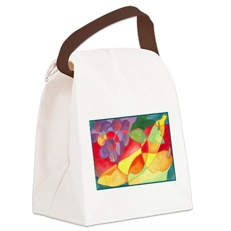 Fruit Montage Watercolor Canvas Lunch Bag