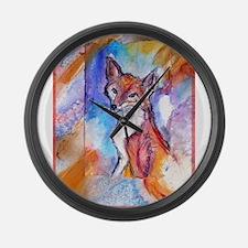 Fox, wildlife art! Large Wall Clock