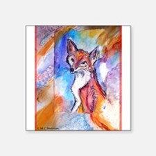"Fox, wildlife art! Square Sticker 3"" x 3"""