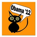 Halloween Cat for Obama 2012 Square Car Magnet
