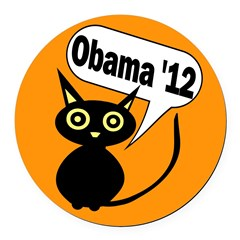Halloween Cat for Obama 12 Round Car Magnet