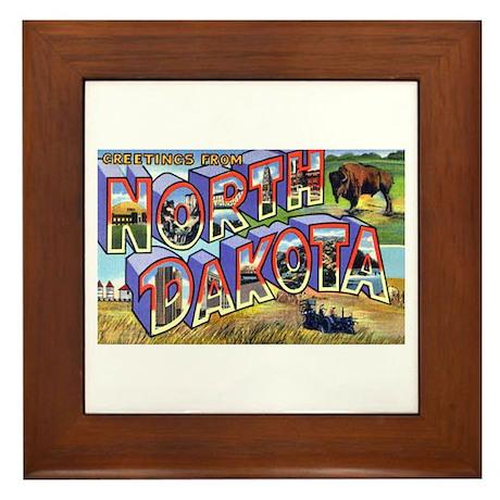 North Dakota Greetings Framed Tile