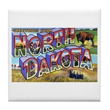 North Dakota Greetings Tile Coaster
