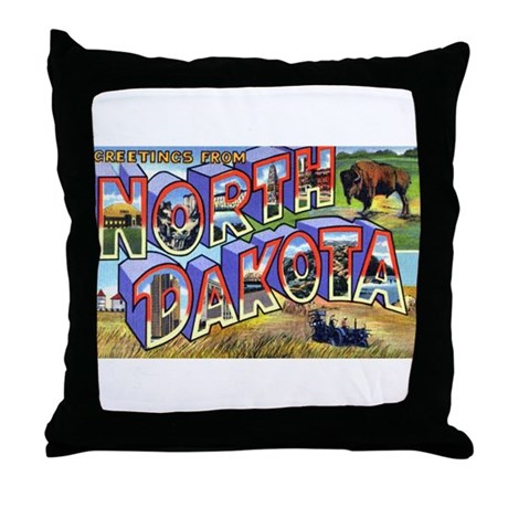 North Dakota Greetings Throw Pillow