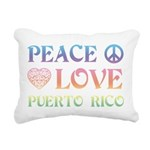 Peace Love Puerto Rico Rectangular Canvas Pillow