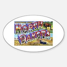 North Dakota Greetings Oval Decal