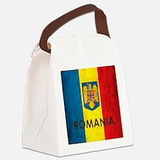 Romania Grunge Flag Canvas Lunch Bag