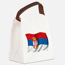 Wavy Serbia Flag Canvas Lunch Bag