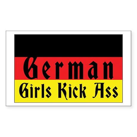 German Girls Kick Ass Rectangle Sticker