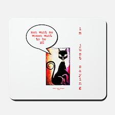 Funny Sexy Black Cat Diva Mousepad