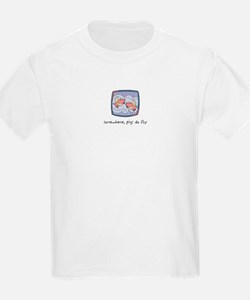 Somewhere, Pigs Do Fly Kids T-Shirt
