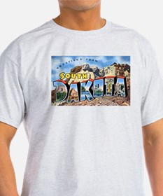 South Dakota Greetings (Front) Ash Grey T-Shirt