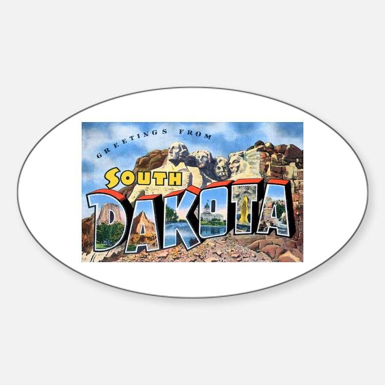 South Dakota Greetings Oval Decal
