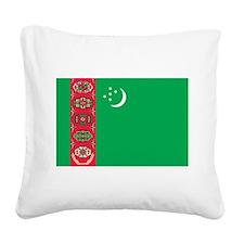 Turkmenistan Flag Square Canvas Pillow