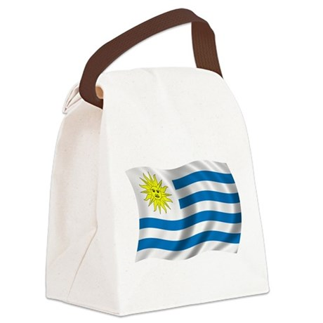 Wavy Uruguay Flag Canvas Lunch Bag