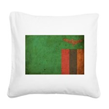 Vintage Zambia Flag Square Canvas Pillow
