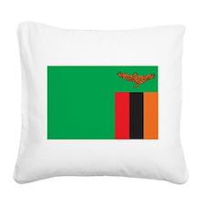 Zambia Flag Square Canvas Pillow