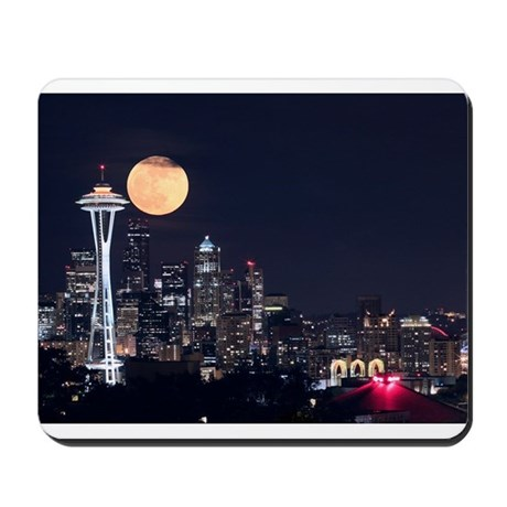 Seattle Space Needle Full Moon Mousepad