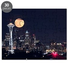 Seattle Space Needle Full Moon Puzzle
