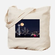 Seattle Space Needle Full Moon Tote Bag