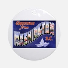 Washington, D.C. Greetings Ornament (Round)