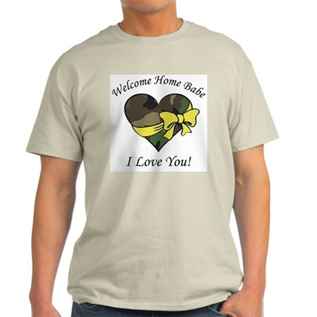Welcome Home Babe Camo Heart Ash Grey T-Shirt