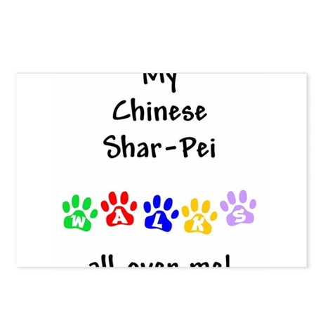 Shar Pei Walks Postcards (Package of 8)