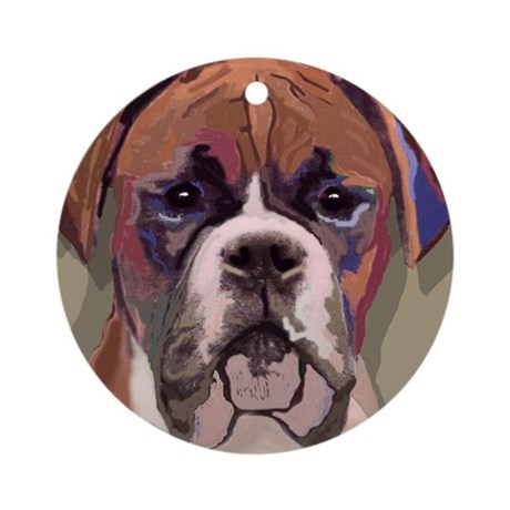 Boxer Dog Porcelain Ornament (Round)