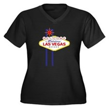 Welcome to Las Vegas Women's Plus Size V-Neck Dark