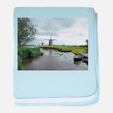 Dutch windmills baby blanket