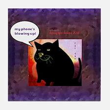 Funny Fat Cat Phone Tile Coaster
