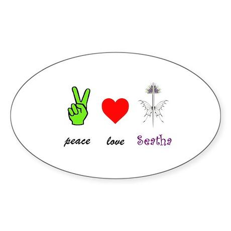 Peace, Love, Seatha Sticker (Oval)